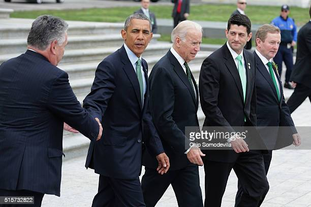 S President Barack Obama says goodbye to Rep Peter King as he and Vice President Joe Biden Speaker of the House Paul Ryan and Irish Prime Minister or...