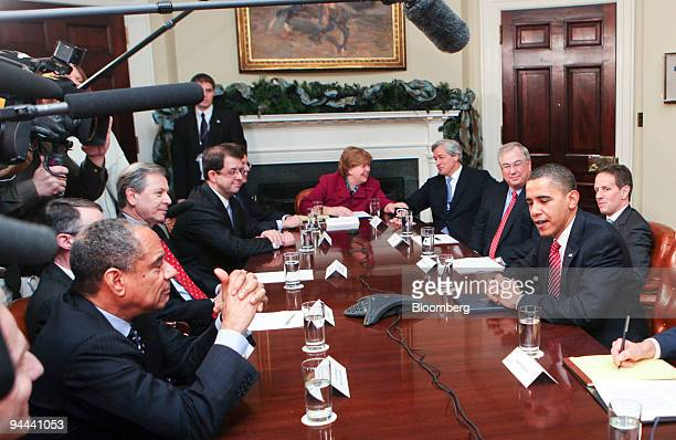 US President Barack Obama second from right meets with clockwise from left Ken Chenault president and chief executive officer of American Express Co...