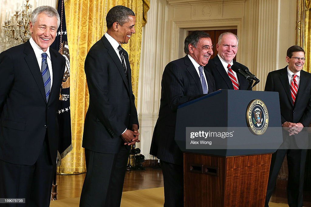 U.S. President Barack Obama (2nd L), Secretary of Defense Leon Panetta (3rd L), former U.S. Sen. Chuck Hagel (R-NE) (L), Acting CIA Director Michael Morell (R) and Deputy National Security Advisor for Homeland Security and Counterterrorism John Brennan (4th L) share a moment during a personnel announcement in the East Room at the White House, on January 7, 2013 in Washington, DC. President Obama has nominated Hagel for the next Secretary of Defense and Brennan to become the new director of the CIA.
