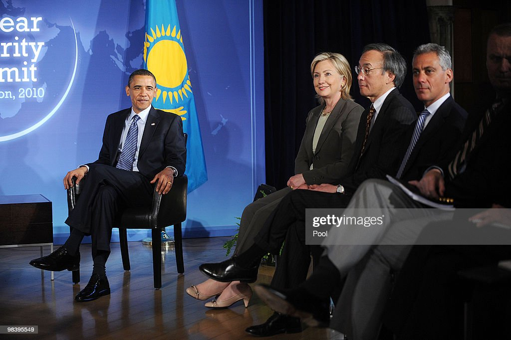 U.S. President <a gi-track='captionPersonalityLinkClicked' href=/galleries/search?phrase=Barack+Obama&family=editorial&specificpeople=203260 ng-click='$event.stopPropagation()'>Barack Obama</a>, Secretary of State <a gi-track='captionPersonalityLinkClicked' href=/galleries/search?phrase=Hillary+Clinton&family=editorial&specificpeople=76480 ng-click='$event.stopPropagation()'>Hillary Clinton</a>, Energy Secretary <a gi-track='captionPersonalityLinkClicked' href=/galleries/search?phrase=Steven+Chu&family=editorial&specificpeople=2732289 ng-click='$event.stopPropagation()'>Steven Chu</a> and White House Chief of Staff <a gi-track='captionPersonalityLinkClicked' href=/galleries/search?phrase=Rahm+Emanuel&family=editorial&specificpeople=753774 ng-click='$event.stopPropagation()'>Rahm Emanuel</a> look on during a bilateral meeting with President Nursultan Nazarbayev of Kazakhstan (not pictured) at the Blair House April 11, 2010 in Washington, DC. Obama is meeting with leaders who are arriving for the two day nuclear security summit which starts Monday.