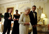 US President Barack Obama sees off Britain's Queen Elizabeth II as Prince Philip the Duke of Edinburgh and First Lady Michelle Obama follow after a...