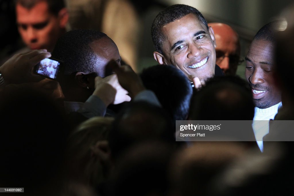 U.S. President <a gi-track='captionPersonalityLinkClicked' href=/galleries/search?phrase=Barack+Obama&family=editorial&specificpeople=203260 ng-click='$event.stopPropagation()'>Barack Obama</a> shakes hands after speaking at the College of Nanoscale Science and Engineering at the University at Albany on May 8, 2012 in Albany, New York. Obama delivered an address that focused on the economy and job creation, two issues which look set to become the central themes of the race against presumptive Republican candidate Mitt Romney. According to a recent Marist College pole, Obama holds a 22-point lead over rival Romney in New York state.