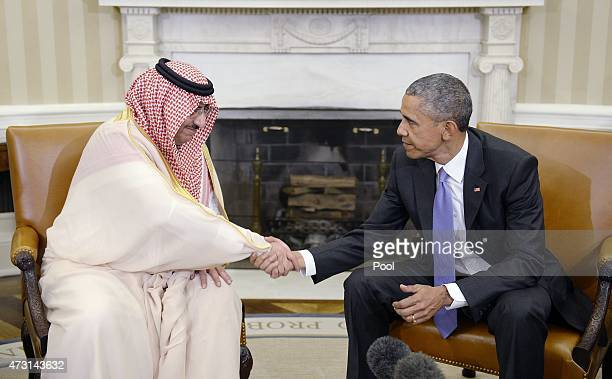 President Barack Obama Shakes hands with Crown Prince Mohammed bin Nayef of Saudi Arabia during a bilateral meeting in the Oval Office at the White...