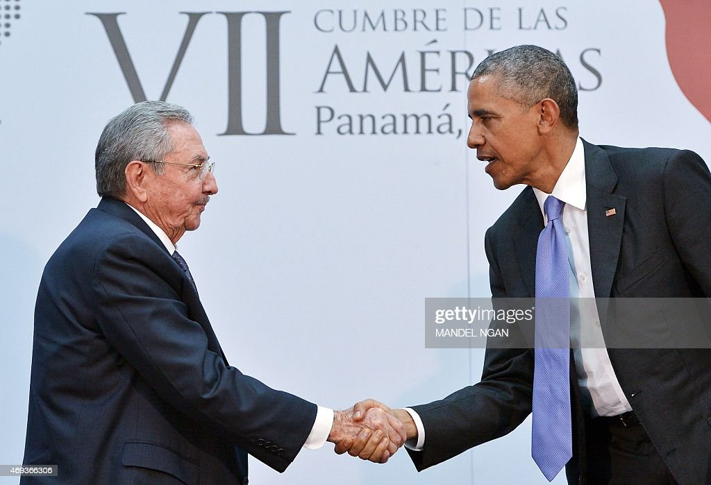 US President <a gi-track='captionPersonalityLinkClicked' href=/galleries/search?phrase=Barack+Obama&family=editorial&specificpeople=203260 ng-click='$event.stopPropagation()'>Barack Obama</a> (R) shakes hands with Cuba's President <a gi-track='captionPersonalityLinkClicked' href=/galleries/search?phrase=Raul+Castro&family=editorial&specificpeople=239452 ng-click='$event.stopPropagation()'>Raul Castro</a> during a meeting on the sidelines of the Summit of the Americas at the ATLAPA Convention center on April 11, 2015 in Panama City.