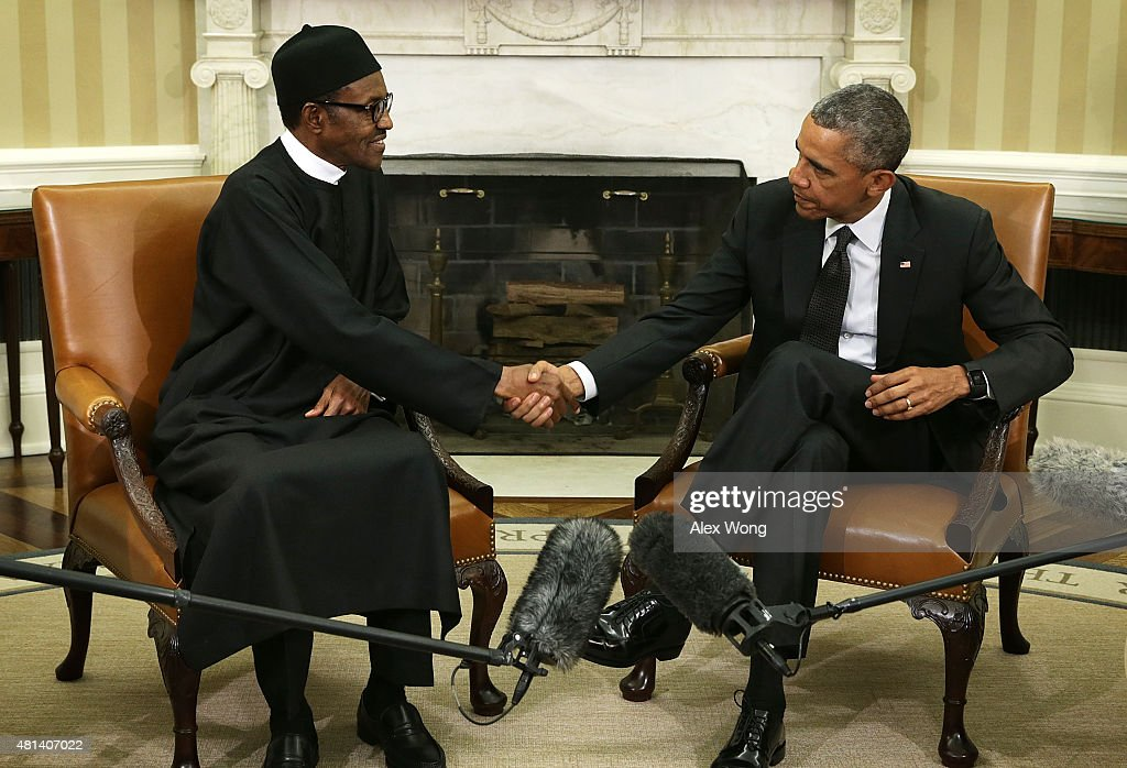 oval office july 2015. us president barack obama r shakes hands with nigerian muhammadu buhari l oval office july 2015 d