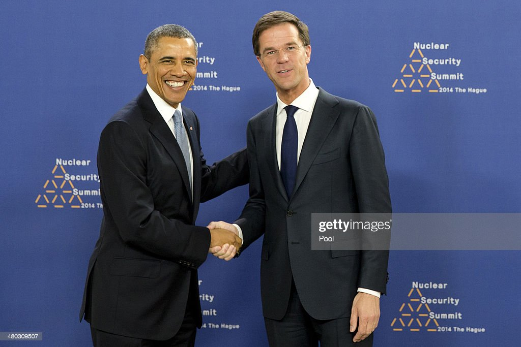 US President <a gi-track='captionPersonalityLinkClicked' href=/galleries/search?phrase=Barack+Obama&family=editorial&specificpeople=203260 ng-click='$event.stopPropagation()'>Barack Obama</a> shakes hands with Prime Minister of the Netherlands <a gi-track='captionPersonalityLinkClicked' href=/galleries/search?phrase=Mark+Rutte&family=editorial&specificpeople=4509362 ng-click='$event.stopPropagation()'>Mark Rutte</a> at the World Forum Convention Center ahead of the 2014 Nuclear Security Summit on March 24, 2014 in The Hague, Netherlands. The Nuclear Security Summit, held March 24-25, will be attended by world leaders and is aimed at preventing nuclear terrorism.