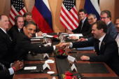 S President Barack Obama shakes hands with Russian President Dmitry Medvedev during their meeting at the APEC summit November 14 2010 in Yokohama...