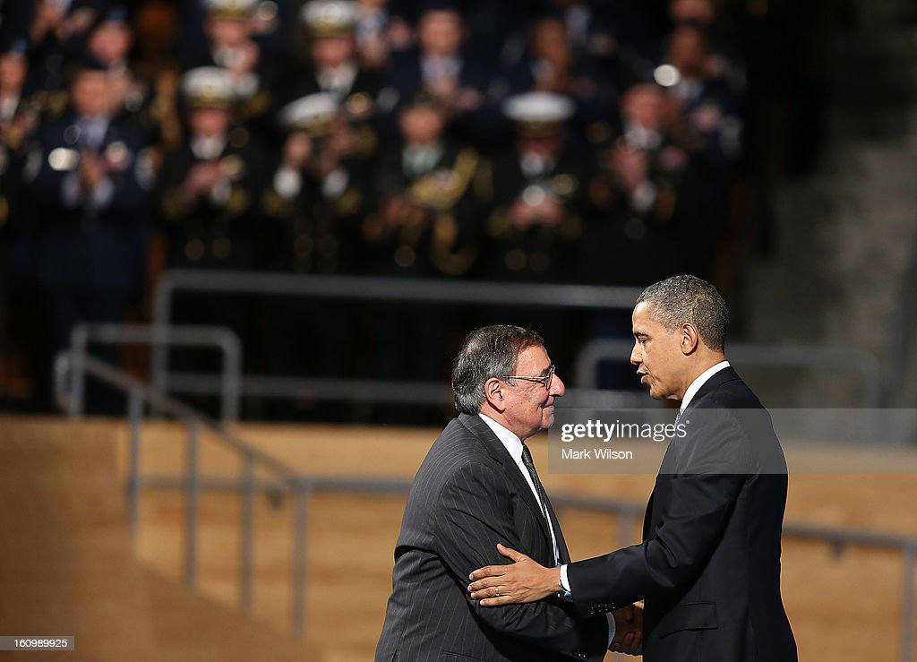U.S. President Barack Obama (R) shakes hands with Secretary of Defense Leon Panetta (L) during an Armed Service farewell ceremony for Sec. Panetta at Joint Base Ft. Myer, on February 8, 2013 in Arlington, Virginia. If confirmed by the U.S. Senate former U.S. Senator Chuck Hagel (R-NE) will replace Panetta as Defense Secretary.