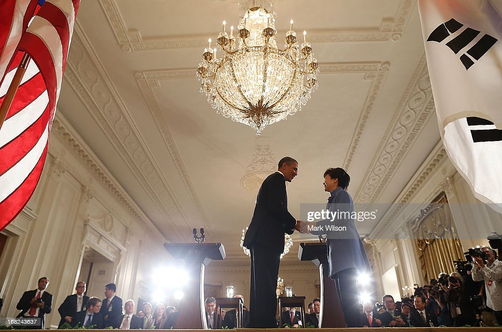 U.S. President <a gi-track='captionPersonalityLinkClicked' href=/galleries/search?phrase=Barack+Obama&family=editorial&specificpeople=203260 ng-click='$event.stopPropagation()'>Barack Obama</a> shakes hands with South Korea President <a gi-track='captionPersonalityLinkClicked' href=/galleries/search?phrase=Park+Geun-hye&family=editorial&specificpeople=603075 ng-click='$event.stopPropagation()'>Park Geun-hye</a> during a news conference in the East Room at the White House, May 7, 2013 in Washington, DC. The two leaders talked about the 60th anniversary of the U.S. and South Korean alliance and answered questions on growing tensions with North Korea.