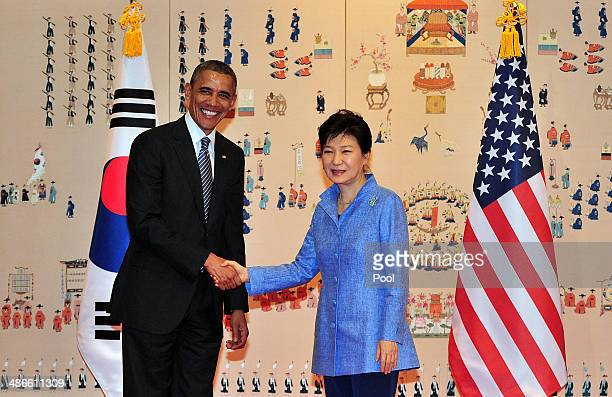 President Barack Obama shakes hands with South Korean President Park GeunHye before a meeting at the presidential Bule House on April 25 2014 in...
