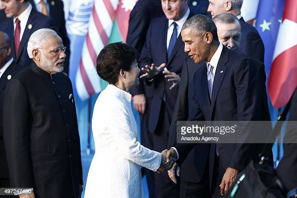 President Barack Obama shakes hands with South Korean President Park Geunhye prior to the family photo during the G20 Turkey Leaders Summit on...