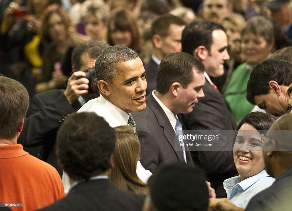 U.S. President <a gi-track='captionPersonalityLinkClicked' href=/galleries/search?phrase=Barack+Obama&family=editorial&specificpeople=203260 ng-click='$event.stopPropagation()'>Barack Obama</a> shakes hands with supporters after delivering remarks on the economy at Linamar Corporation on February 13, 2013 in Arden, North Carolina. President Obama delivered the remarks at the North Carolina auto components manufacturing plant following his State of the Union speech on Tuesday.