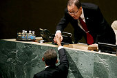 US President Barack Obama shakes hands with United Nations Secretary General Ban Kimoon after addressing the 70th annual United Nations General...