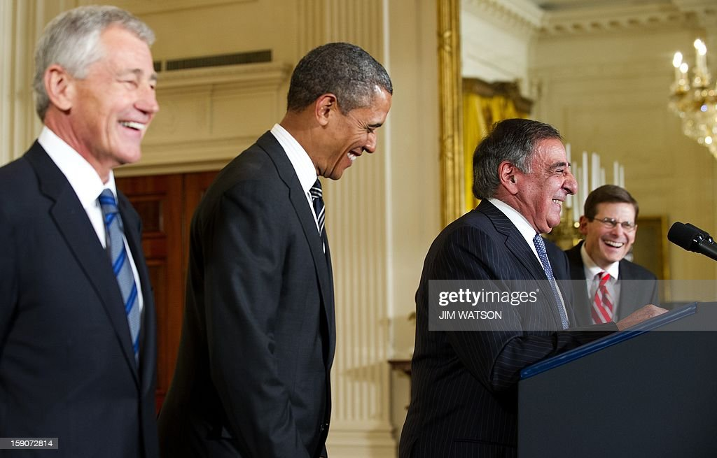 US President Barack Obama (2nd L) shares a laugh with his nominees for US Defense Secretary Chuck Hagel (L), current US Defense Secretary Leon Panetta (2nd R) and Acting Director of the CIA Michael Morell (R) during an event at the White House in Washington on January 7, 2013. AFP PHOTO/Jim WATSON