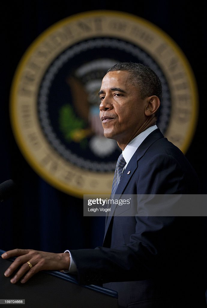 President <a gi-track='captionPersonalityLinkClicked' href=/galleries/search?phrase=Barack+Obama&family=editorial&specificpeople=203260 ng-click='$event.stopPropagation()'>Barack Obama</a> signs executive orders designed to reduce gun violence in the United States in the Eisenhower Executive Building on January 16, 2013 in Washington, DC.
