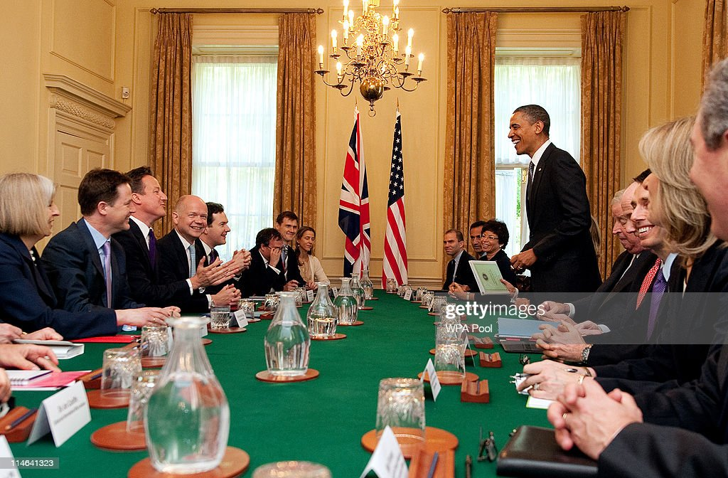 U.S. President Barack Obama (5th R) sits for an expanded bilateral with Britain's Prime Minister David Cameron (3rd L) and other delegations at the 10 Downing Street on May 25, 2011 in London, England. The 44th President of the United States, Barack Obama, and his wife Michelle are in the UK for a two day State Visit at the invitation of HM Queen Elizabeth II. Last night they attended a state banquet at Buckingham Palace and today's events include talks at Downing Street and the President will address both houses of parliament at Westminster Hall.