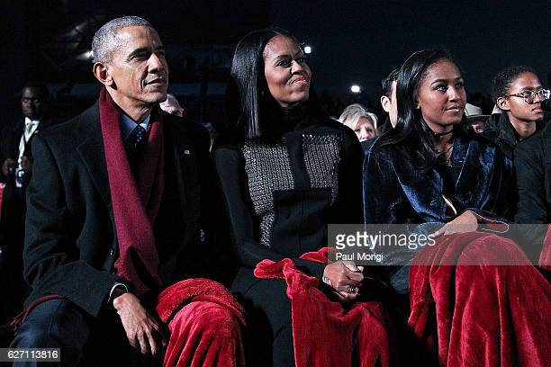 President Barack Obama sits with first lady Michelle Obama and their daughter Sasha to watch musical perfomances during the 94th Annual National...