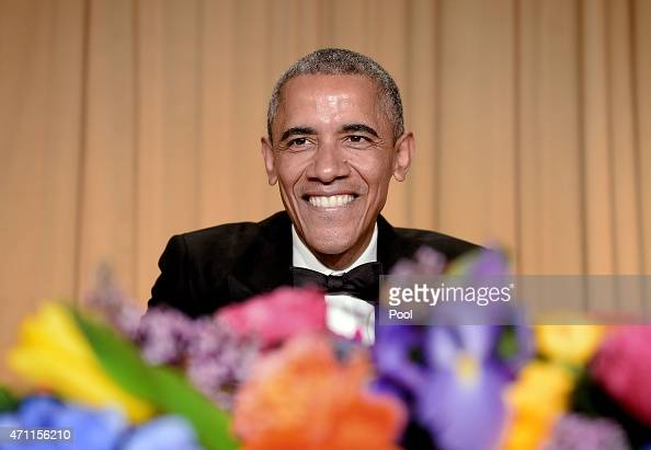President Barack Obama smiles at the annual White House Correspondent's Association Gala at the Washington Hilton hotel April 25 2015 in Washington...