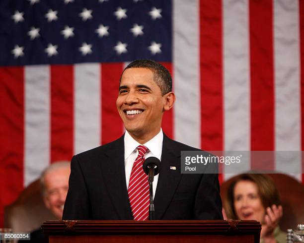 S President Barack Obama smiles during his address to a joint session of Congress in the House Chamber of the US Capitol February 24 2009 in...