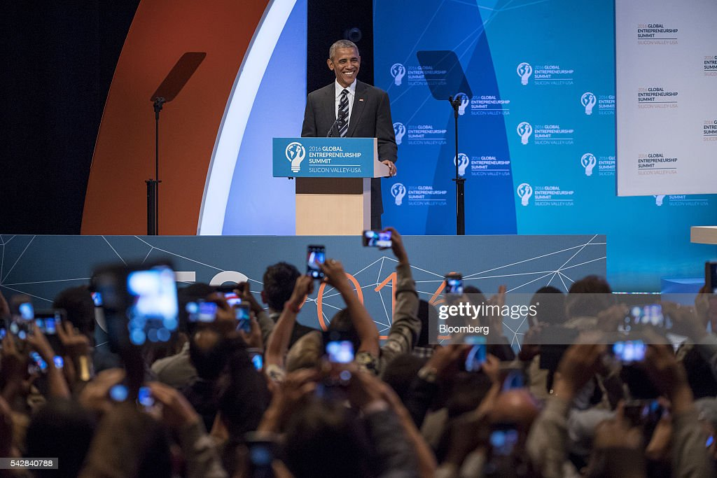 U.S. President <a gi-track='captionPersonalityLinkClicked' href=/galleries/search?phrase=Barack+Obama&family=editorial&specificpeople=203260 ng-click='$event.stopPropagation()'>Barack Obama</a> smiles during the 2016 Global Entrepreneurship Summit (GES) at Stanford University in Stanford, California, U.S., on Friday, June 24, 2016. The annual event brings together entrepreneurs from around the world for 3 days of networking, workshops and conferences. Photographer: David Paul Morris/Bloomberg via Getty Images