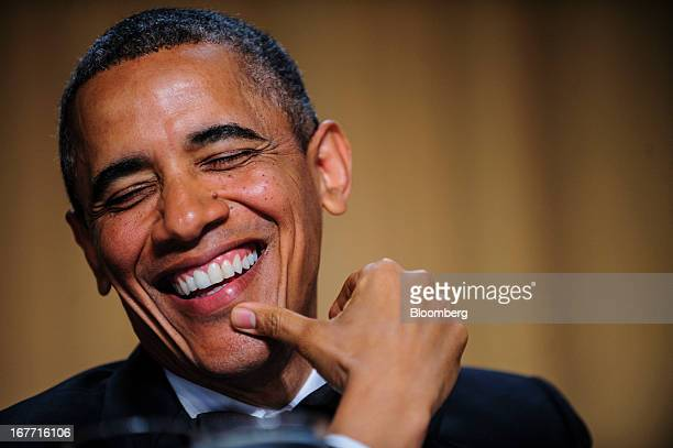 US President Barack Obama smiles during the White House Correspondents' Association dinner in Washington District of Columbia US on Saturday April 27...