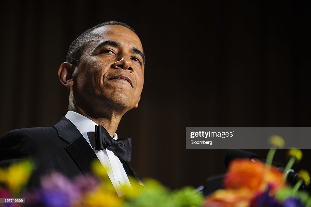 U.S. President <a gi-track='captionPersonalityLinkClicked' href=/galleries/search?phrase=Barack+Obama&family=editorial&specificpeople=203260 ng-click='$event.stopPropagation()'>Barack Obama</a> smiles during the White House Correspondents' Association (WHCA) dinner in Washington, District of Columbia, U.S., on Saturday, April 27, 2013. The 99th annual dinner raises money for WHCA scholarships and honors the recipients of the organization's journalism awards. Photographer: Pete Marovich/Bloomberg via Getty Images