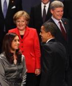 President Barack Obama smiles with Prime Minister Stephen Harper of Canada German Chancellor Angela Merkel and Argentina's President Cristina...