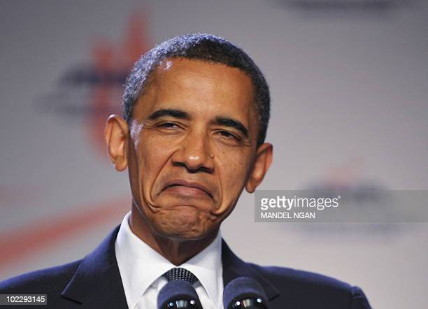 US President Barack Obama speaking of receiving injections frowns while addressing the American Nurses Association House of Delegates June 16 2010 at...