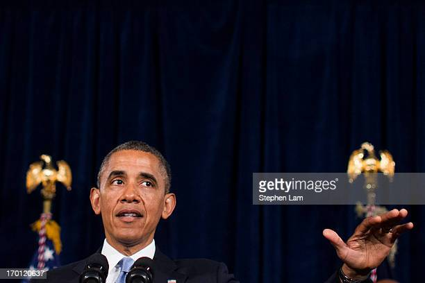 S President Barack Obama speaks about Affordable Care Act at The Fairmont Hotel on June 7 2013 in San Jose California Obama was trying to spur people...