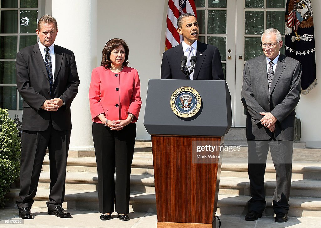 S President Barack Obama speaks about coal mine safety while flanked by Kevin Stricklin of the Mine Safety and Health Administration Secretary of...