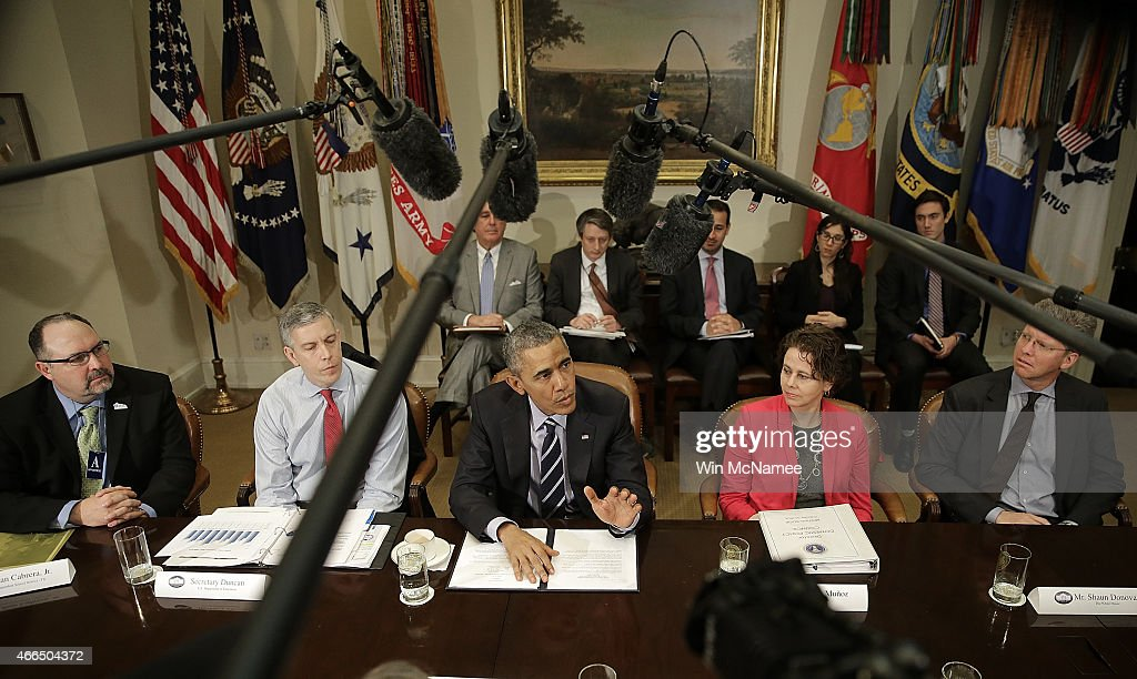 U.S. President <a gi-track='captionPersonalityLinkClicked' href=/galleries/search?phrase=Barack+Obama&family=editorial&specificpeople=203260 ng-click='$event.stopPropagation()'>Barack Obama</a> speaks about federal education funding during a meeting in the Roosevelt Room of the White House with a group of superintendents and leaders of the Council of the Great City Schools to discuss efforts to strengthen educational opportunities for students in city schools March 16, 2015 in Washington, DC. The meeting was intended to allow Obama to listen to challenges faced by school leaders at the local level. Also pictured are (L-R) Juan Cabrera, Superintendent, El Paso Independent School District, Texas; Secretary of Education <a gi-track='captionPersonalityLinkClicked' href=/galleries/search?phrase=Arne+Duncan&family=editorial&specificpeople=3049193 ng-click='$event.stopPropagation()'>Arne Duncan</a>; Cecilia Munoz, Director, White House Domestic Policy Council; Shaun Donovan, Director of the Office of Management and Budget; Darienne Driver, Superintendent, Milwaukee Public Schools, Wisconsin; and Michael Hanson, Superintendent, Fresno Unified School District, California.