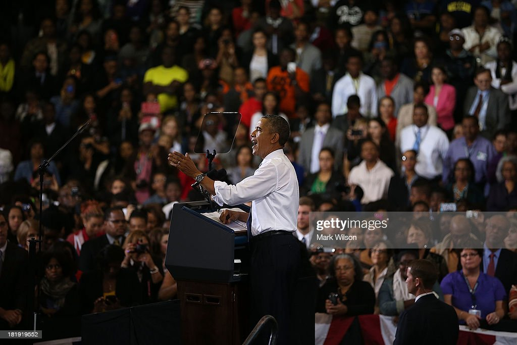 U.S. President <a gi-track='captionPersonalityLinkClicked' href=/galleries/search?phrase=Barack+Obama&family=editorial&specificpeople=203260 ng-click='$event.stopPropagation()'>Barack Obama</a> speaks about health care at the Prince Georges Community College, September 26, 2013 in Largo, MD. President Obama spoke about the benefits of the Affordable Healthcare Act (ObamaCare) that will become available next month.