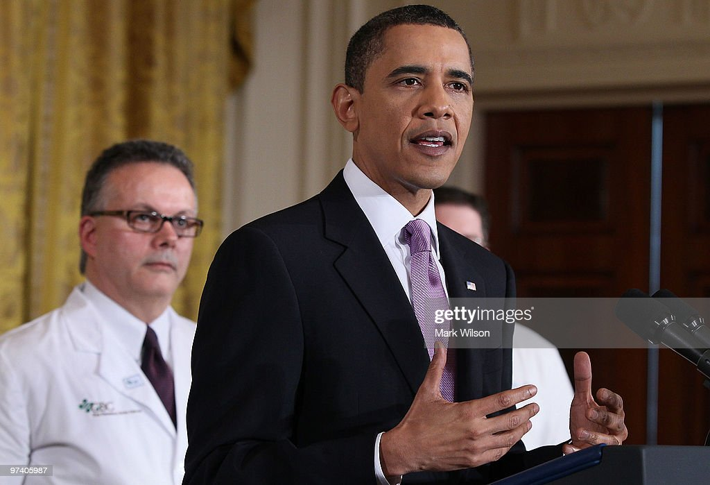 US President <a gi-track='captionPersonalityLinkClicked' href=/galleries/search?phrase=Barack+Obama&family=editorial&specificpeople=203260 ng-click='$event.stopPropagation()'>Barack Obama</a> speaks about health care reform during an event in the East Room at the White House on March 3, 2010 in Washington, DC. President Obama called on law makers to give his health care package that is before Congress an up or down vote.