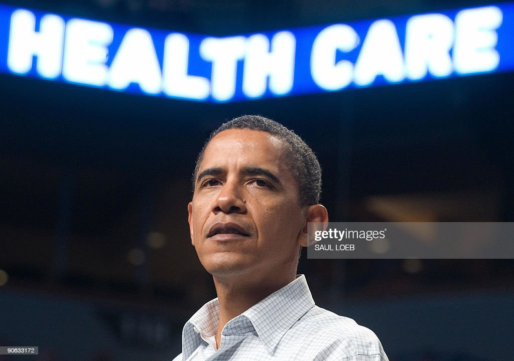 US President <a gi-track='captionPersonalityLinkClicked' href=/galleries/search?phrase=Barack+Obama&family=editorial&specificpeople=203260 ng-click='$event.stopPropagation()'>Barack Obama</a> speaks about healthcare reform during a rally at the Target Center in Minneapolis, Minnesota, September 12, 2009. AFP PHOTO / Saul LOEB