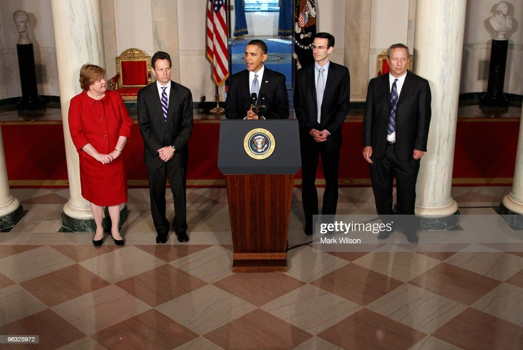 US President <a gi-track='captionPersonalityLinkClicked' href=/galleries/search?phrase=Barack+Obama&family=editorial&specificpeople=203260 ng-click='$event.stopPropagation()'>Barack Obama</a> (C) speaks about his budget for fiscal year 2011, while flanked by <a gi-track='captionPersonalityLinkClicked' href=/galleries/search?phrase=Christina+Romer&family=editorial&specificpeople=5617471 ng-click='$event.stopPropagation()'>Christina Romer</a> (L) Chair of the Council of Economic Advisers, Treasury Secretary <a gi-track='captionPersonalityLinkClicked' href=/galleries/search?phrase=Timothy+Geithner&family=editorial&specificpeople=5087853 ng-click='$event.stopPropagation()'>Timothy Geithner</a> (2L), White House budget director Peter Orszag (2R) and economic adviser <a gi-track='captionPersonalityLinkClicked' href=/galleries/search?phrase=Lawrence+Summers&family=editorial&specificpeople=224698 ng-click='$event.stopPropagation()'>Lawrence Summers</a> at the White House on February 1, 2009 in Washington, DC. Today President Obama sent Congress his proposed budget of $3.8 trillion for the fiscal year 2011. President Obama said his budget would eliminate tax cuts for those making more than $250,000.
