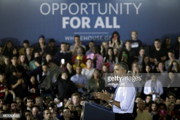 S President Barack Obama speaks about his proposal to raise the federal minimum wage at the University of Michigan on April 2 2014 in Ann Arbor...