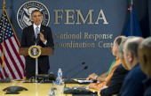 US President Barack Obama speaks about hurricane preparedness as well as the budget showdown with Congress at the headquarters of FEMA the Federal...