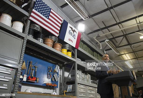 US President Barack Obama speaks about increasing access to high speed and affordable internet at Cedar Falls Utilities in Cedar Falls Iowa January...