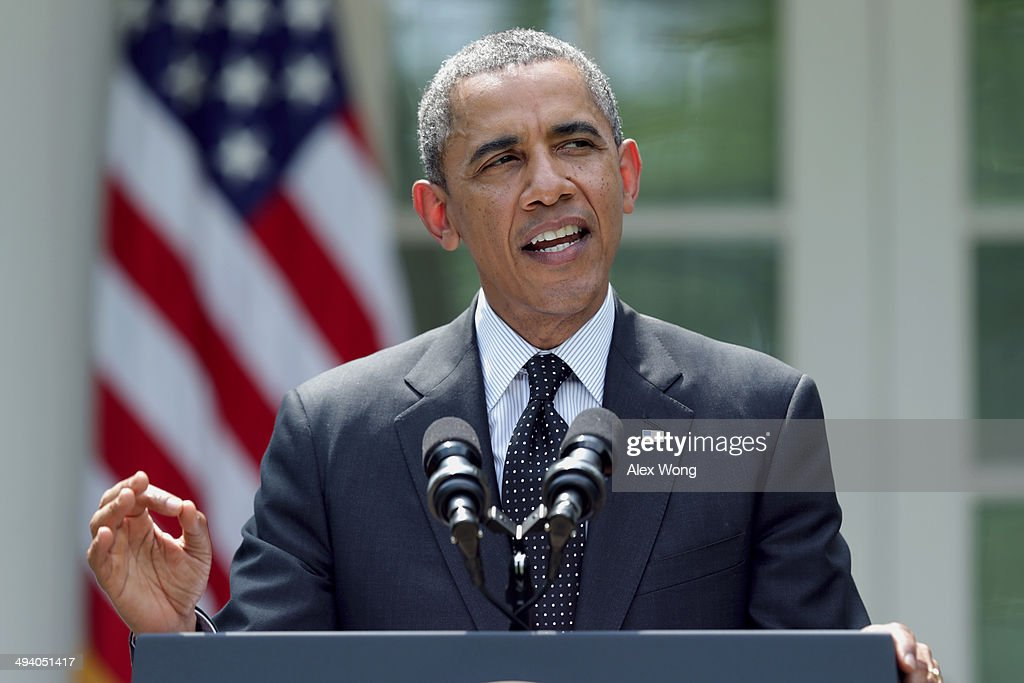 U.S. President <a gi-track='captionPersonalityLinkClicked' href=/galleries/search?phrase=Barack+Obama&family=editorial&specificpeople=203260 ng-click='$event.stopPropagation()'>Barack Obama</a> speaks about military troop pullout from Afghanistan at the White House on May 27, 2014 in Washington, DC. The administration's plan is to keep a contingency force of 9,800 U.S. troops in Afghanistan beyond 2014, consolidating them in Kabul and on Bagram Air Base.