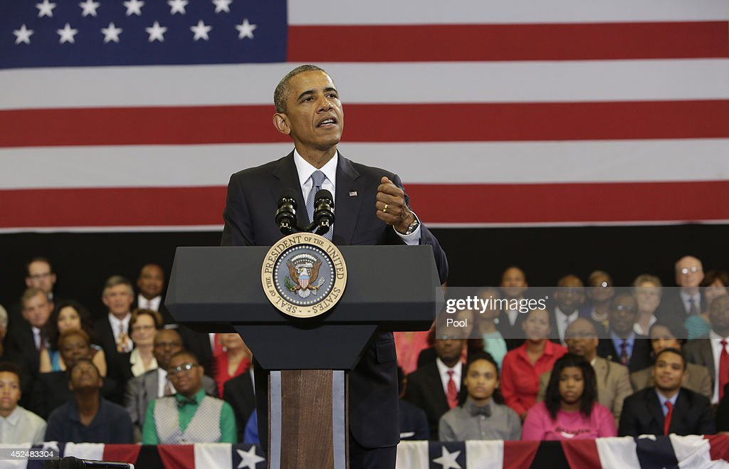 U.S. President <a gi-track='captionPersonalityLinkClicked' href=/galleries/search?phrase=Barack+Obama&family=editorial&specificpeople=203260 ng-click='$event.stopPropagation()'>Barack Obama</a> speaks about the about My Brother's Keeper initiative at the Walker Jones Education Campus on July 21, 2014 in Washington, DC. Obama spoke to area youth during a town hall meeting about the initiaive that is intended to help young men and boys of color.