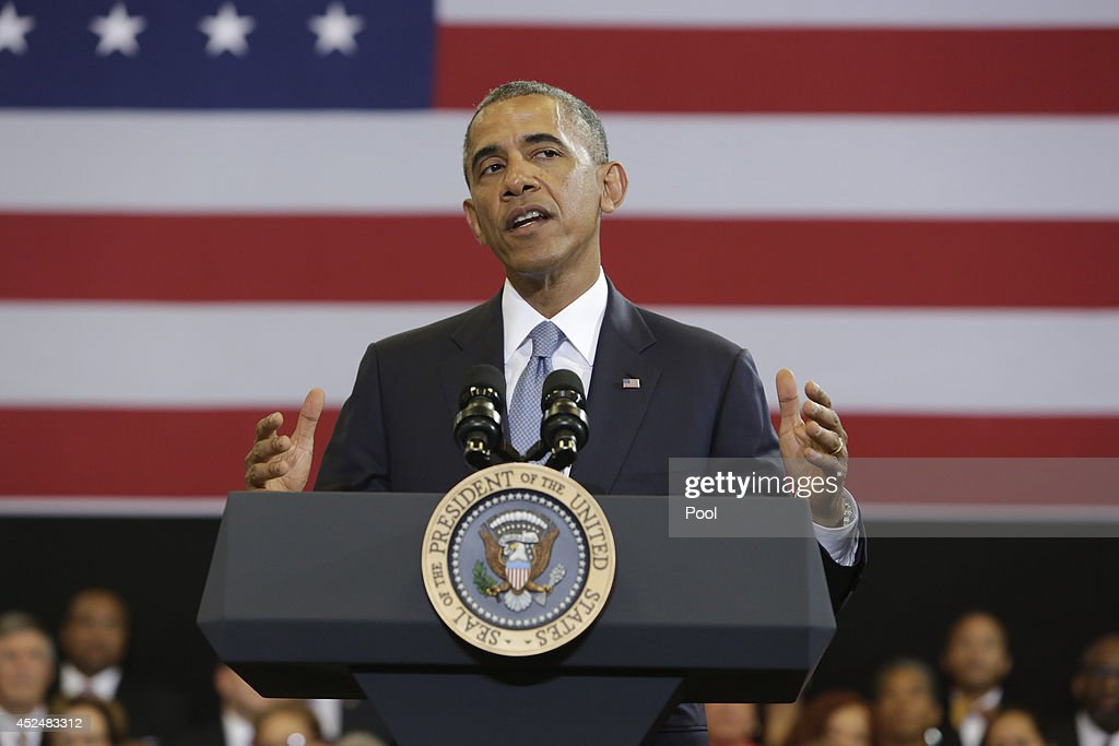 U.S. President Barack Obama speaks about the about My Brother's Keeper initiative at the Walker Jones Education Campus on July 21, 2014 in Washington, DC. Obama spoke to area youth during a town hall meeting about the initiaive that is intended to help young men and boys of color.