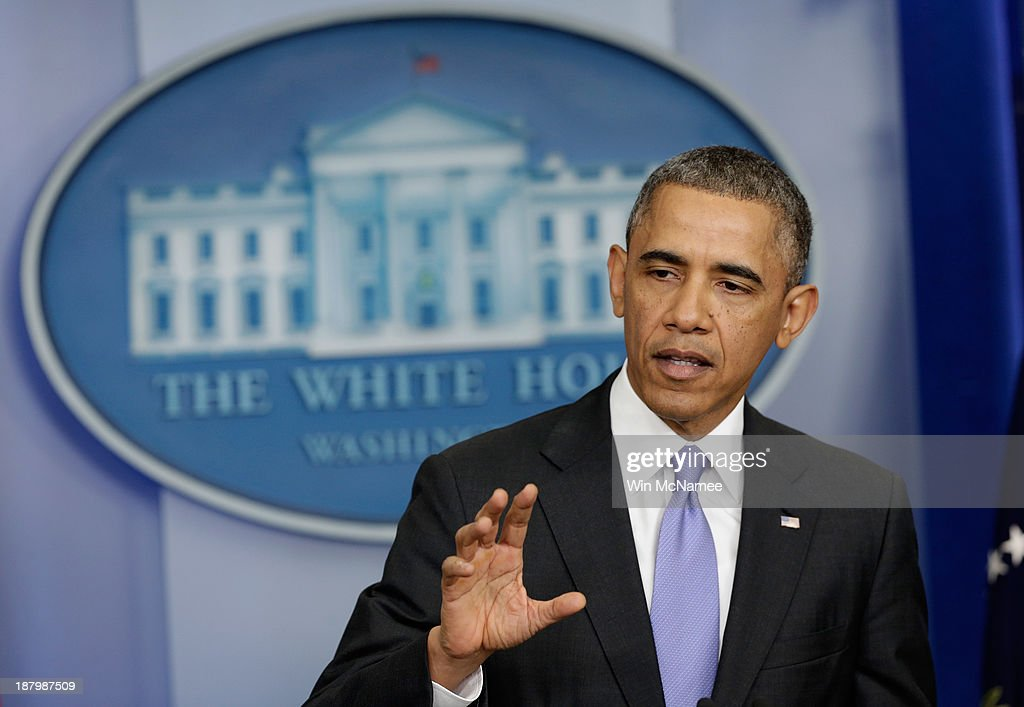 U.S. President Barack Obama speaks about the Affordable Care Act in the Brady Press Briefing Room at the White House on November 14, 2013 in Washington, DC. The president announced an administrative fix for some of the problems with the HealthCare.gov. website.