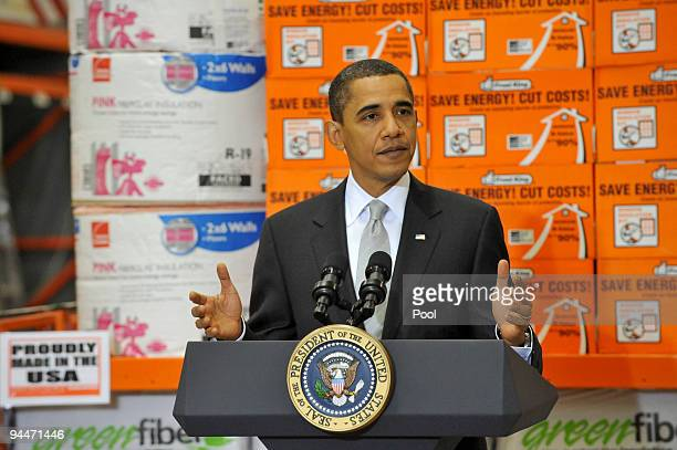 S President Barack Obama speaks about the economic impact of energy saving home retrofits at a Home Depot store December 15 2009 in Alexandria...
