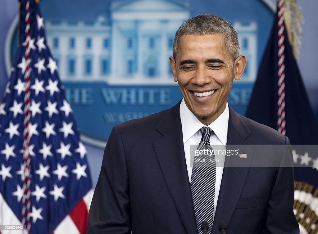 US President Barack Obama speaks about the economy and answers questions in the Brady Press Briefing Room at the White House in Washington, DC, on May 6, 2016. Obama launched a broadside at presumptive Republican presidential nominee Donald Trump Friday, saying the presidency 'is not a reality show.' Obama also said Trump's record needs to come under closer scrutiny. LOEB