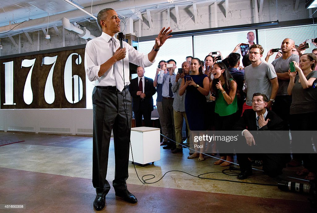 U.S. President <a gi-track='captionPersonalityLinkClicked' href=/galleries/search?phrase=Barack+Obama&family=editorial&specificpeople=203260 ng-click='$event.stopPropagation()'>Barack Obama</a> speaks about the economy at the technology start-up hub '1776' July 3, 2014 in Washington, DC. Obama spoke about the economy, citing the recent growth in jobs.