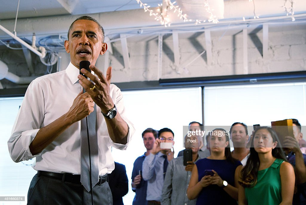 U.S. President Barack Obama speaks about the economy at the technology start-up hub '1776' July 3, 2014 in Washington, DC. Obama spoke about the economy, citing the recent growth in jobs.
