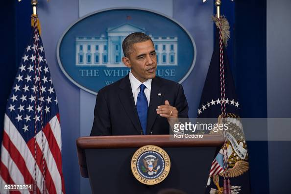US President Barack Obama speaks about the fiscal cliff in the James Brady Briefing Room of the White House in Washington DC December 21 2012 Photo...