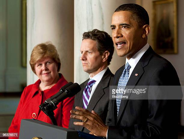 US President Barack Obama speaks about the government's 2011 fiscal year budget while Christina Romer chairman of the Council of Economic Advisers...