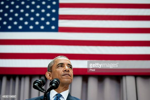 S President Barack Obama speaks about the Iran nuclear agreement August 5 2015 at American University in Washington DC Obama is pushing for congress...