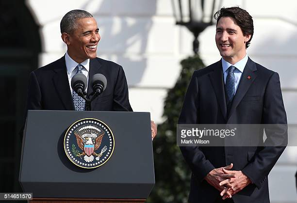 S President Barack Obama speaks about the location of the Stanley Cup as he welcomes Canadian Prime Minister Justin Trudeau during an arrival...